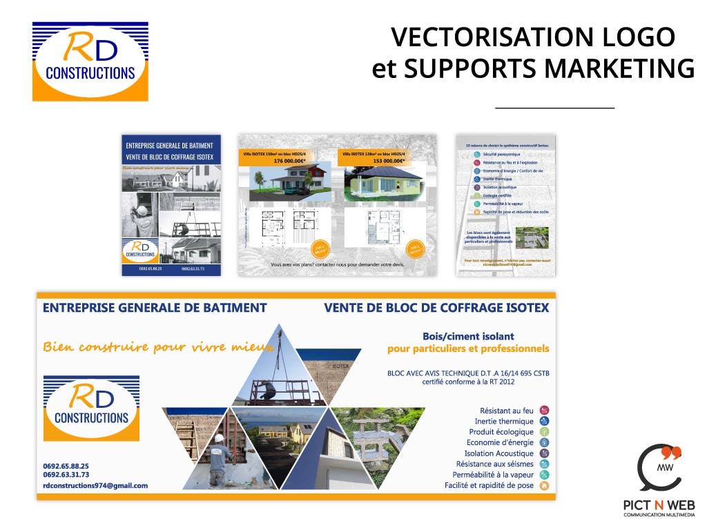 RD CONSTRUCTION: Bâche - Vectorisation logo - Flyers