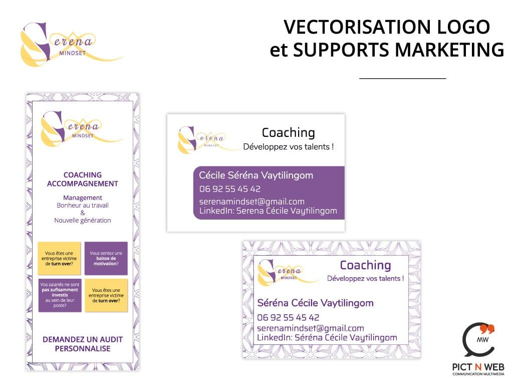 SERENA MINDSET : Vectorisation logo - Carte de visite - Roll Up